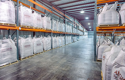 Warehouse with packaged products